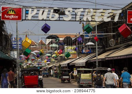 Siem Reap, Cambodia - 26 March 2018: Pub Streed Day View With Restaurants. Urban Tourist Attraction