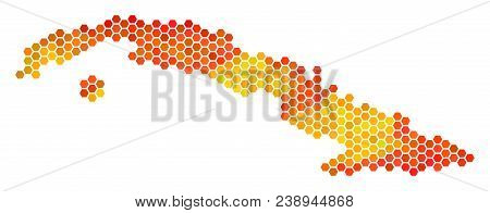 Cuba Map. Vector Hex-tile Territory Plan Using Hot Color Hues. Abstract Cuba Map Mosaic Is Combined