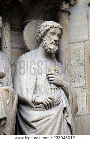 PARIS, FRANCE - JANUARY 04: Saint Peter, Portal of the Last Judgment, Notre Dame Cathedral, Paris, UNESCO World Heritage Site in Paris, France on January 04, 2018.