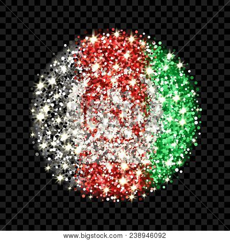 Islamic Republic Of Afghanistan Flag Sparkling Badge. Round Icon With Afhan National Colors With Gli