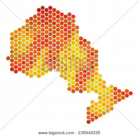 Ontario Province Map. Vector Hex-tile Geographic Map In Bright Orange Color Tones. Abstract Ontario