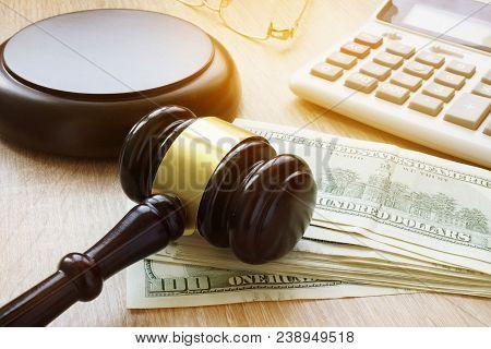 Financial Fraud. White Collar Crime. Gavel, Calculator And Money.
