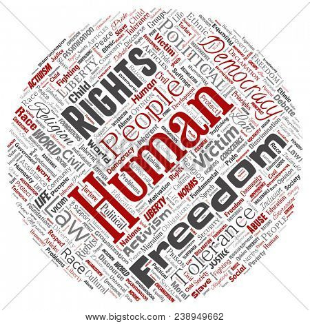 Conceptual human rights political freedom, democracy round circle red  word cloud isolated background. Collage of humanity tolerance, law principles, people justice or discrimination concept