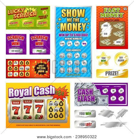 Scratch Lottery Games Realistic Cards Collection With Lucky Winning Tickets And  Looser Marks Reveal