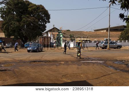 Bissau, Republic Of Guinea-bissau - January 30, 2018: Street Scene In The City Of Bissau With People