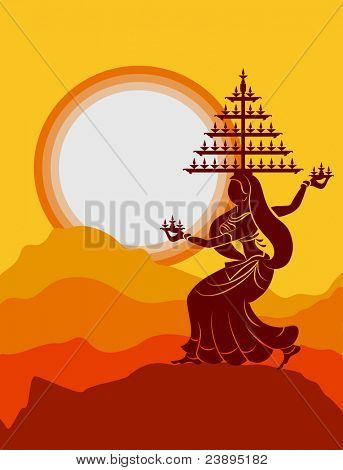 Garba Dancer performing with diya on head in sunset background, shadow art