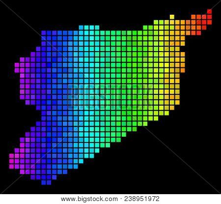 Colorful Syria Map. Vector Territory Map In Bright Spectrum Color Tints On A Black Background. Abstr