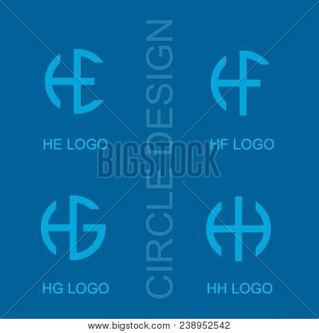 Set Circle He Hf Hg Hh Letter Logo, Creative Logo Simple Design.