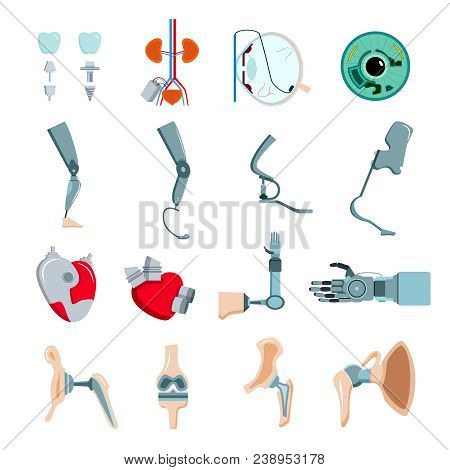 Orthopedic Prothesis Medical Implants Artificial Body Parts Flat Icons Collection With Mechanical He