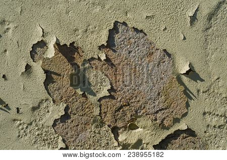 Wall with peeling paint, paint problem. Inadequate paint system, water infiltration. poster