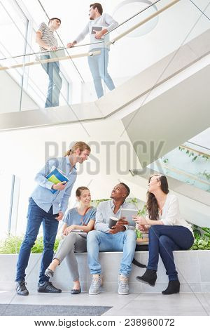 Students or pupils making small talk in uni campus