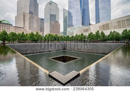 New York City - July 13, 2017: Memorial At World Trade Center Ground Zero  The Memorial Was Dedicate