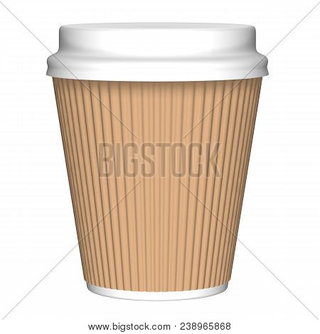Plastic Or Paper Corrugated  Glass And Cap Render Isolated On White Background (3d Illustration)