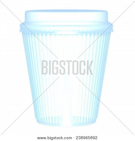Plastic Or Paper Corrugated Transparent  Glass And Cap Render Isolated On White Background (3d Illus