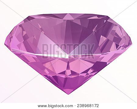 Amethyst, Spinel Or Kunzite Side View Render Isolated On White Background (3d Illustration)