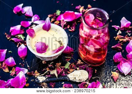 Close Up Of Ayurvedic And Beneficial Face Pack For Dull And Black Skin I.e. Face Pack Of Rose Water