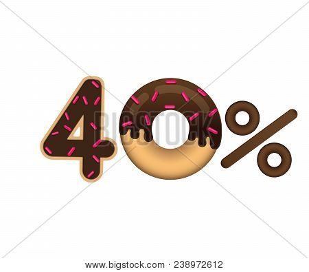 Sale 40 Percent And Discount Price. Lettering Made In The Form Of A Donut With Glaze Isolated On Whi