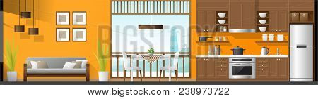 House Interior Section Panorama Background Including Living Room , Dining Room And Kitchen , Vector