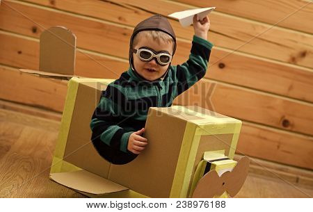 Air Mail Delivery, Aircraft Construction. Little Boy Child Play In Cardboard Plane, Childhood. Kid,
