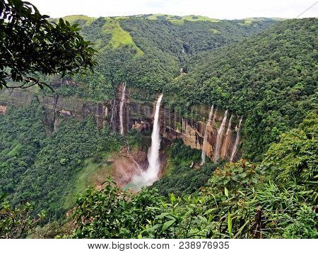 Nohkalikai Falls is the tallest plunge waterfall in India. It is 340 metres high .The waterfall is located near Cherrapunji, one of the wettest places on Earth. poster