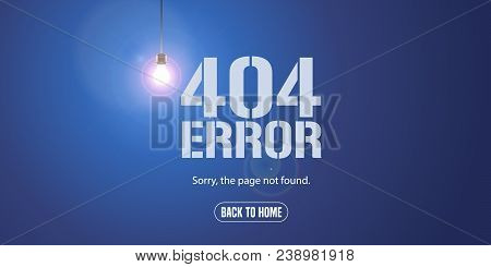 Template 404 Error Page Vector Illustration, Banner With Not Found Message. Mistake Warning Text Bac