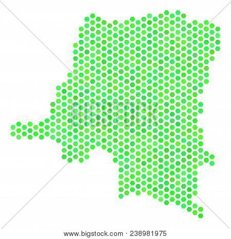 Eco Green Democratic Republic Of The Congo Map. Vector Hexagonal Territorial Plan Using Eco Green Co