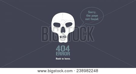 404 Error Page Vector Illustration, Banner With Not Found Text. Skull And Speech Bubble Background F