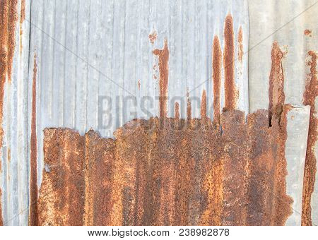 Abstract Corroded Colorful Rusty Metal Background, Rusty Metal Texture Space For Design And Use.