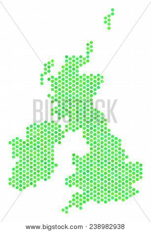 Green Great Britain And Ireland Map. Vector Hex-tile Territory Map Using Eco Green Color Tones. Abst