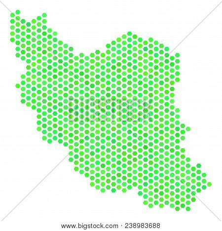 Green Iran Map. Vector Hex Tile Territorial Map Using Green Color Shades. Abstract Iran Map Collage