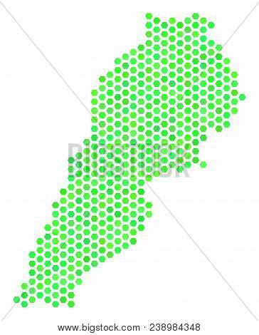 Green Lebanon Map. Vector Honeycomb Territorial Map In Eco Green Color Variations. Abstract Lebanon