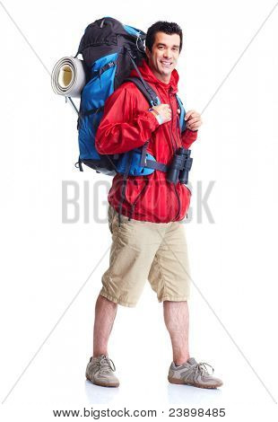 Hiker man  tourist. Hiking. Isolated over white background.