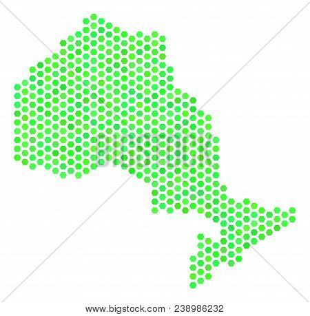 Green Ontario Province Map. Vector Hex-tile Territorial Map Using Green Color Hues. Abstract Ontario
