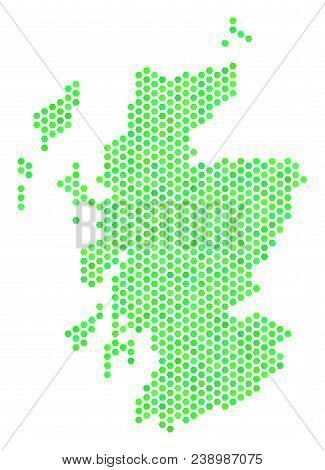 Eco Green Scotland Map. Vector Hexagon Territory Scheme Drawn With Eco Green Color Tones. Abstract S