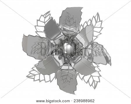 Chrome Metal Flower Rendering Isolated On White Background (3d Illustration)