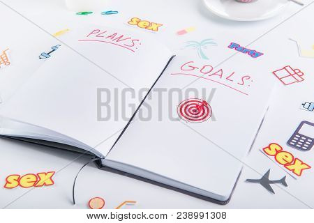 Pushpin As An Arrow On Target Icon In Personal Planning Organizer With Goals And Plans Among Other I