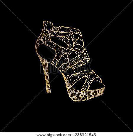 Lady Hogh Heels Or Woman T-strap, Girl Shoes. Golden Female Boot With Zentangle Style Pattern, Women