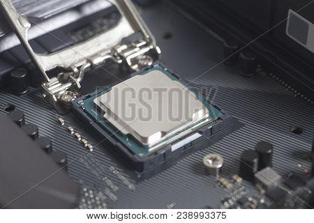 Intel Lga 1151 Cpu Socket On Motherboard Computer Pc With Cpu Processor Close Up