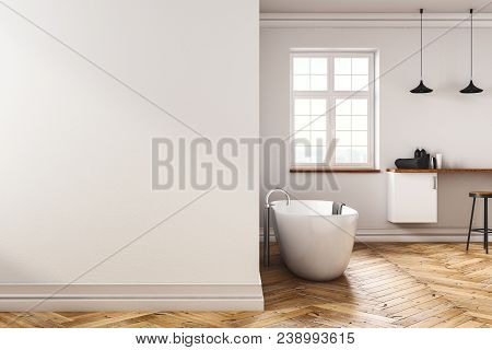 Contemporary Concrete Bathroom Interior With Copy Space On Wall. Mock Up, 3d Rendering