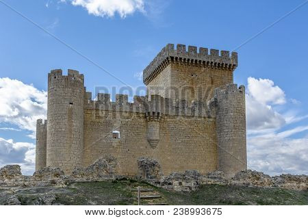 Castle Of Villalonso Village In The Province Of Zamora Spain On A Sunny Winter Day