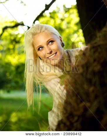 Beautiful Woman Playing Hide And Seek