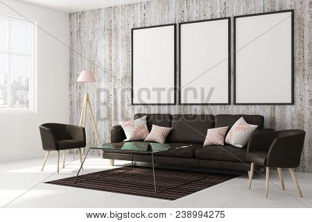 Light Living Room Interior With Sofa, Chairs, Carpet, City View And Empty Poster On Concrete Wall. M