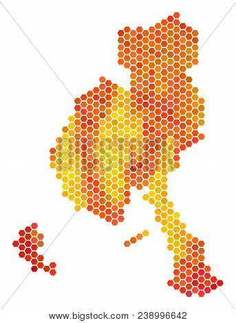 Veraguas Province Map. Vector Honeycomb Geographic Map In Flame Color Tinges. Impressive Veraguas Pr