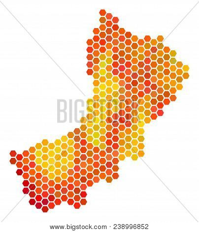Yemen Map. Vector Hexagon Geographic Plan Drawn With Orange Color Tones. Abstract Yemen Map Composit