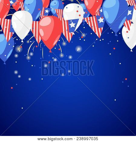 4 Of July Usa Independence Day. Abstract Holiday Celebration Vector Blue Background. Fireworks And A