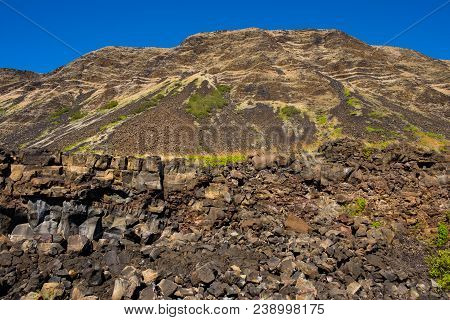Rugged Terrain Along The Pali Cliffs At Halape Beach, An Infamous Location Along The Puna Coast Trai