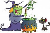 Cat Watching An Ugly Halloween Witch Holding A Frog Over A Cauldron poster