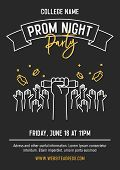 Prom Night party invitation card with hands raised throwing academic hats up and showing diplomas. Vector template design with thin line icons for highschool, college or university student event poster