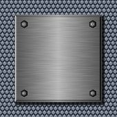 Shiny brushed metal plate against abstract background poster