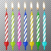 Vector 3d realistic different birthday party colofful wax paraffin burning cake candle icon set closeup isolated on transparency grid background. Design template, clipart for graphics. poster